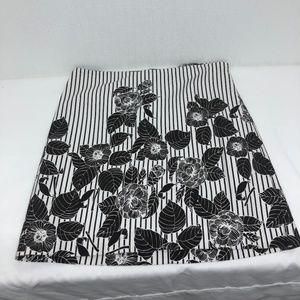 Ann Taylor LOFT Size 8 Striped Floral Midi Skirt